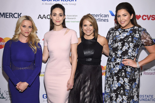 """NEW YORK, NEW YORK - APRIL 09: (L-R) Reese Witherspoon, Emmy Rossum, Katie Couric and Hillary Scott attend Stand Up To Cancer's New York Standing Room Only, presented by Entertainment Industry Foundation, with donors American Airlines and Merck, chaired by Jim Toth, Reese Witherspoon & MasterCard President/CEO Ajay Banga and his wife Ritu, honoring Katie Couric at Cipriani Wall Street on April 9, 2016 in New York City. (Photo by Dimitrios Kambouris/Getty Images for EIF)"""