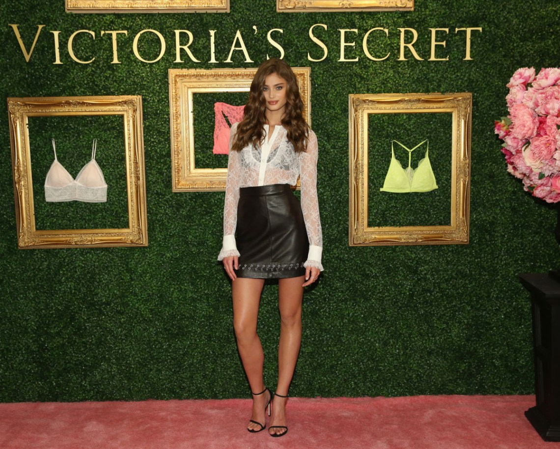 """NEW YORK, NEW YORK - APRIL 12:  Victoria's Secret Angel Taylor Hill hosts global media live stream to reveal Bralette Collection & launch multi-city tour at Victoria's Secret Herald Square on April 12, 2016 in New York City  (Photo by Cindy Ord/Getty Images for Victoria's Secret)"""