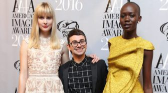 Models Jasmine Poulton and Mari Agory with Designer of the Year - Christian Sirano at the 38th Annual AAFA American Image Awards