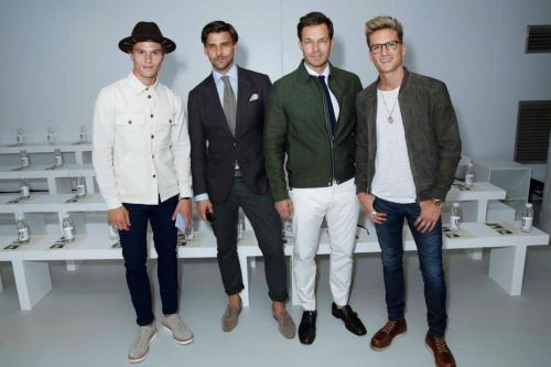Oliver Chesheir, Johannes Hueble, Paul Sculfor & Oliver Proudlock attend Oliver Spencer Show at BFC Show Space (Darren Gerrish, British Fahsion Council)