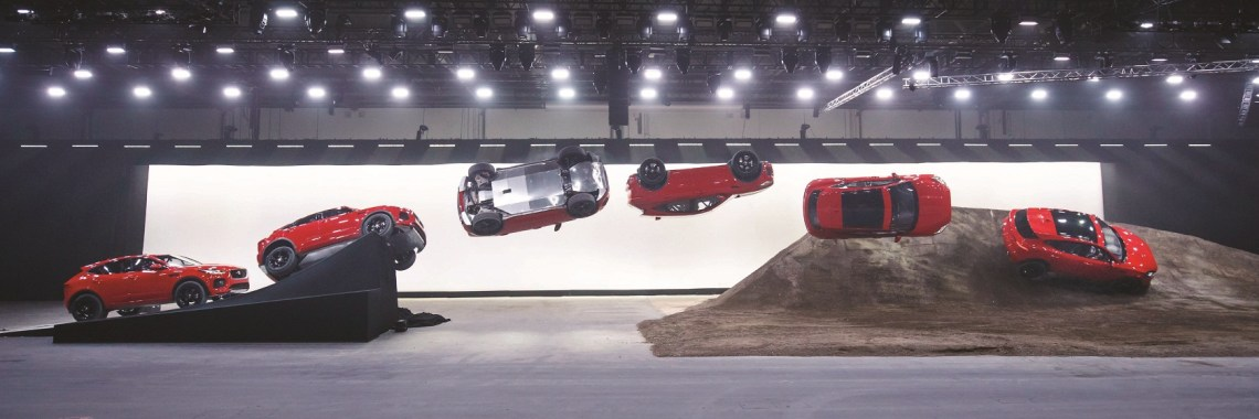 NO ONLINE USE PRIOR TO THIS TIME..Jaguar and stunt driver Terry Grant set a new Guinness World Record for longest barrel roll at the global launch of the new Jaguar E-PACE at ExCel London.