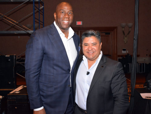Magic Johnson with PBA Chairman Reuben Carranza