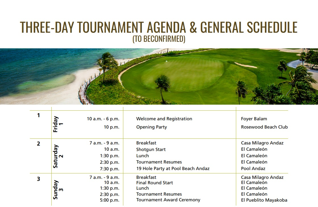 THREE-DAY TOURNAMENT AGENDA & GENERAL SCHEDULE