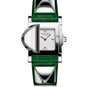 Hermès alligator strap tank timepiece trimmed with tsavorites