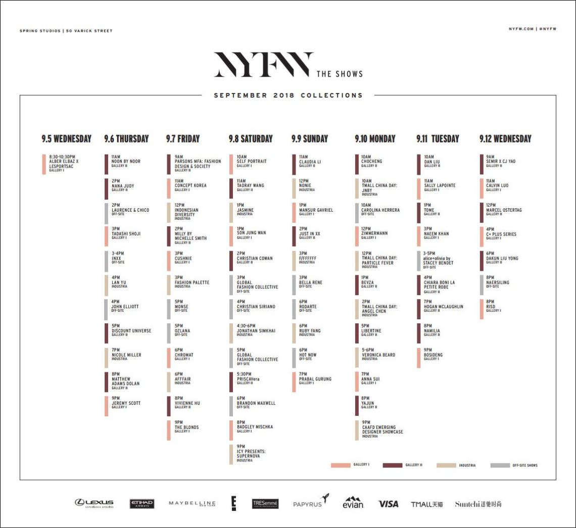 NYFW - New York Fashion Week September 2018 Schedule