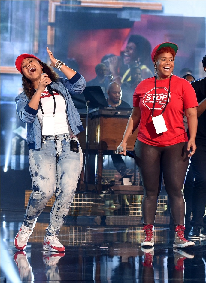 Erica Campbell (L) and Tina Campbell of Mary Mary perform onstage during the 2018 American Music Awards