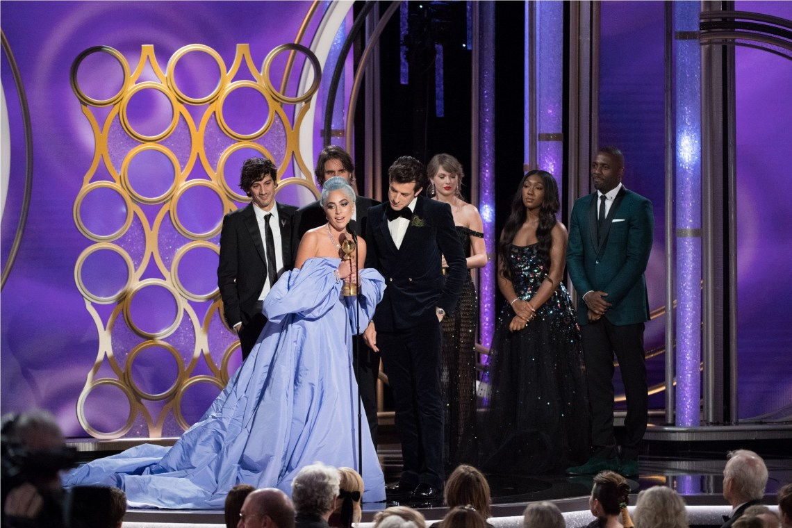"The Golden Globe for BEST ORIGINAL SONG – MOTION PICTURE goes to ""Shallow"" for ""A Star Is Born"" - music and lyrics by: Lady Gaga, Mark Ronson, Anthony Rossomando, and Andrew Wyatt - as accepted by Lady Gaga and Mark Ronson at the 76th Annual Golden Globe Awards at the Beverly Hilton in Beverly Hills, CA on Sunday, January 6, 2019."