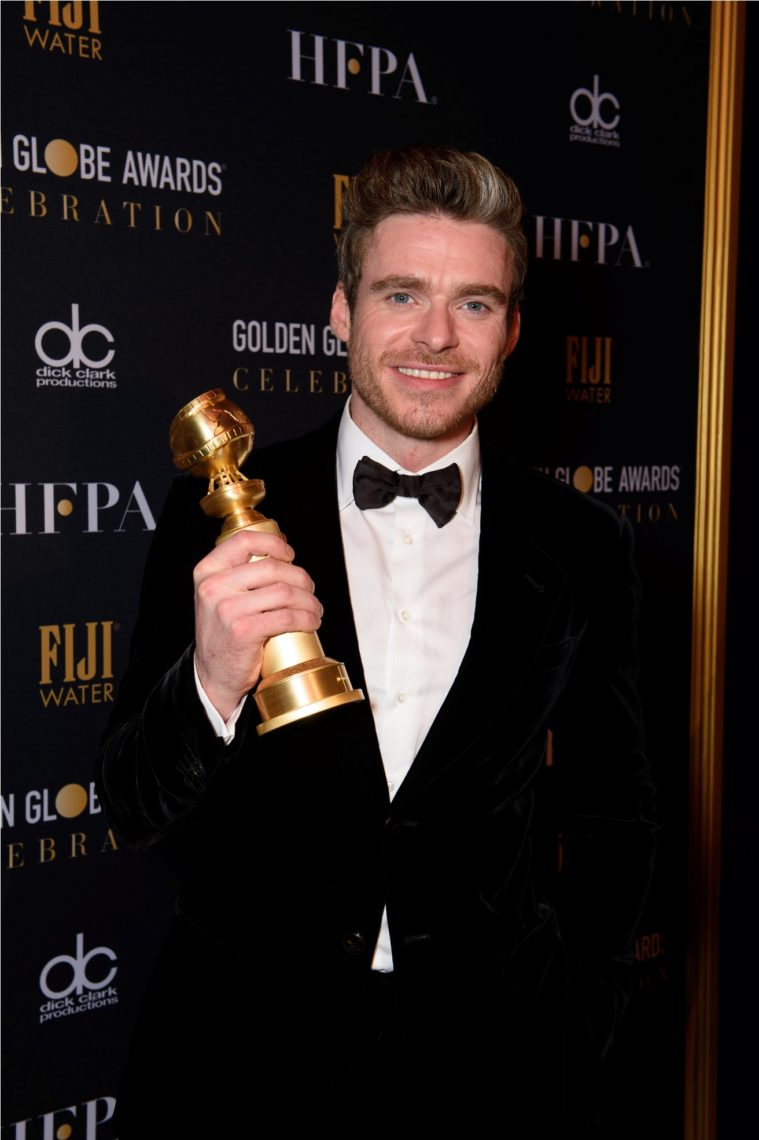 """After winning the category of BEST PERFORMANCE BY AN ACTOR IN A TELEVISION SERIES – DRAMA for his role in """"Bodyguard,"""" actor Richard Madden poses backstage in the press room with his Golden Globe Award at the 76th Annual Golden Globe Awards at the Beverly Hilton in Beverly Hills, CA on Sunday, January 6, 2019."""