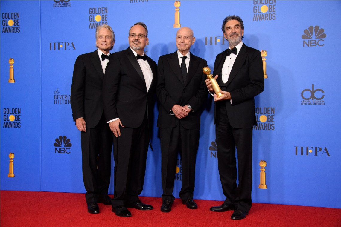"For BEST TELEVISION SERIES - MUSICAL OR COMEDY, the Golden Globe is awarded to ""The Kominsky Method"" (Netflix). Michael Douglas, Al Higgins, Alan Arkin and Chuck Lorre pose with the award backstage in the press room at the 76th Annual Golden Globe Awards at the Beverly Hilton in Beverly Hills, CA on Sunday, January 6, 2019."