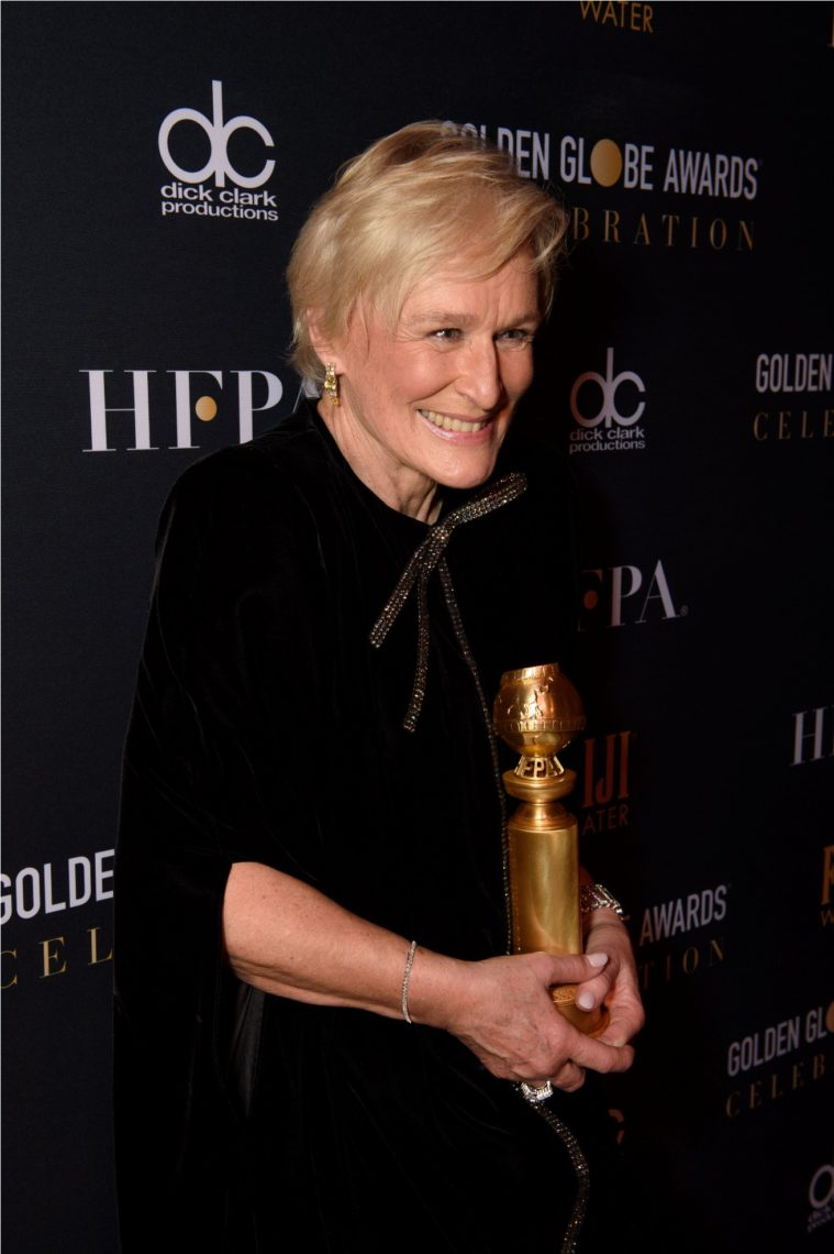 """After winning the category of BEST PERFORMANCE BY AN ACTRESS IN A MOTION PICTURE – DRAMA for her role in """"The Wife,"""" actress Glenn Close poses backstage in the press room with her Golden Globe Award at the 76th Annual Golden Globe Awards at the Beverly Hilton in Beverly Hills, CA on Sunday, January 6, 2019."""