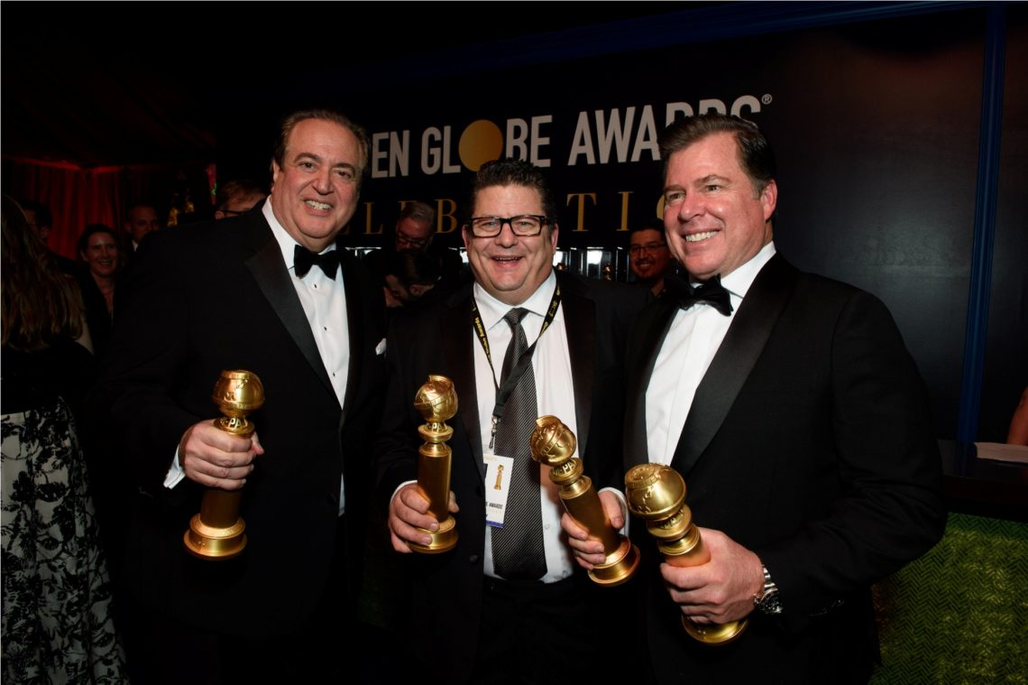 """After winning the category of BEST SCREENPLAY – MOTION PICTURE for """"Green Book,"""" Nick Vallelonga, and and Brian Currie pose backstage with the Golden Globe Award at the 76th Annual Golden Globe Awards at the Beverly Hilton in Beverly Hills, CA on Sunday, January 6, 2019."""