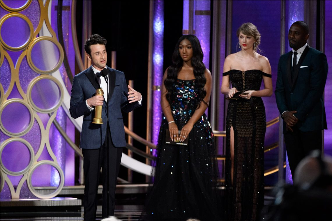"The Golden Globe is awarded to Justin Hurwitz for BEST ORIGINAL SCORE – MOTION PICTURE for ""First Man"" at the 76th Annual Golden Globe Awards at the Beverly Hilton in Beverly Hills, CA on Sunday, January 6, 2019."