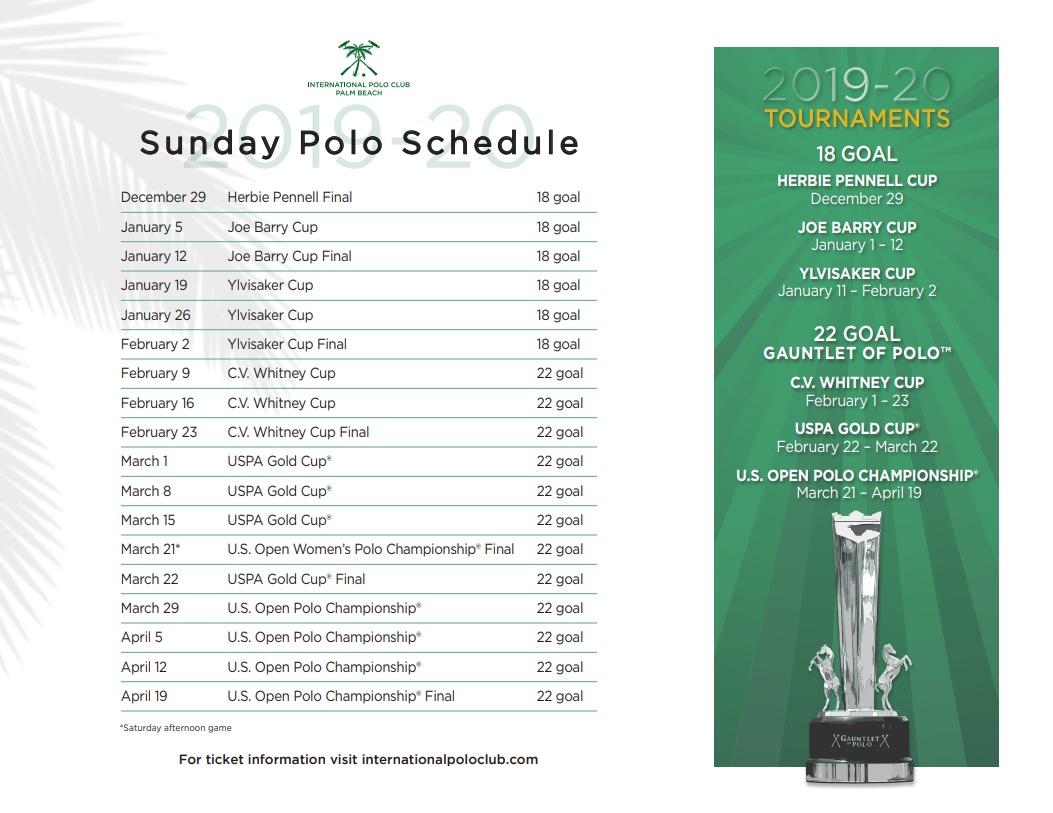 2020 Polo Tournament Schedule