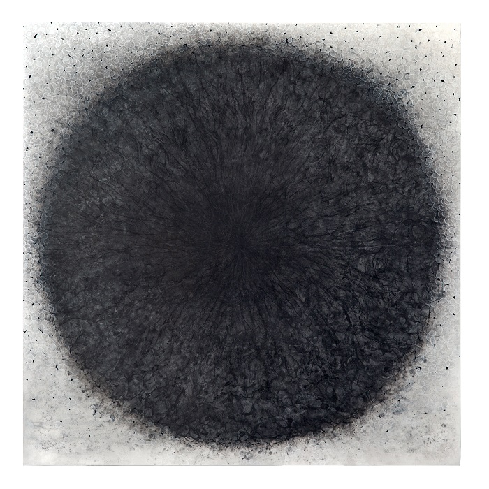 Carol Prusa, Dark Light (Elegy for Rebecca Elson), 2019, Silverpoint, graphite, acrylic on wood panel. Courtesy of the artist.