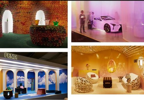 Perrier-Jouët presents Metamorphosis by Andrea Mancuso of Analogia Project Lexus presents The Sunshower by Nao Tamura FENDI presents Roman Molds by Kueng Caputo Louis Vuitton presents Objets Nomades
