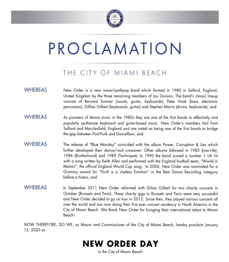 NEW ORDER DAY in the City of Miami Beach.