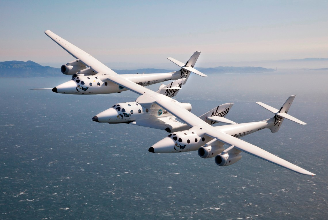 WhiteKnightTwo and SpaceShipTwo fly over the San Francisco Bay