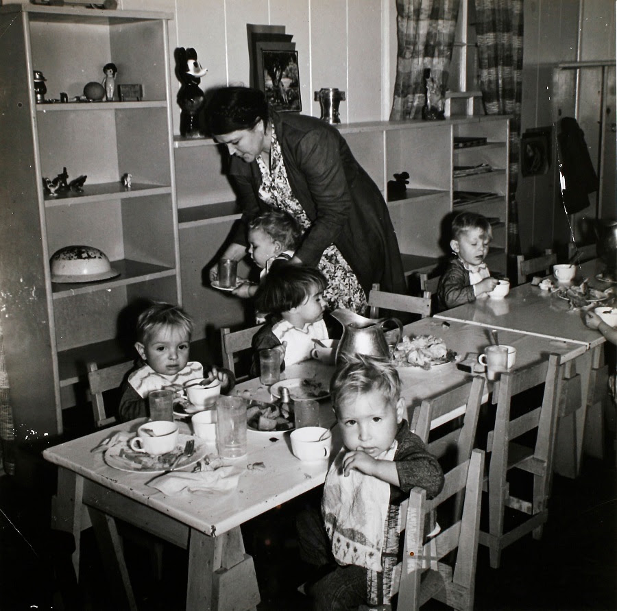 Lunch Time in Nursery at FSA Migrant Camp at Shafter, California, by Dorothea Lange (February, 1939). Vintage gelatin silver print. Museum Purchase. F.S.A. Farm Security Administration photo by: Lange