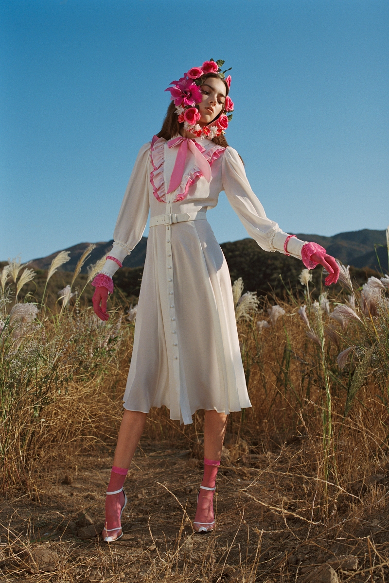 OFF WHITE AND PINK SILK DRESS WITH RUFFLE COLLAR (WITH BELT) - LOOK 14