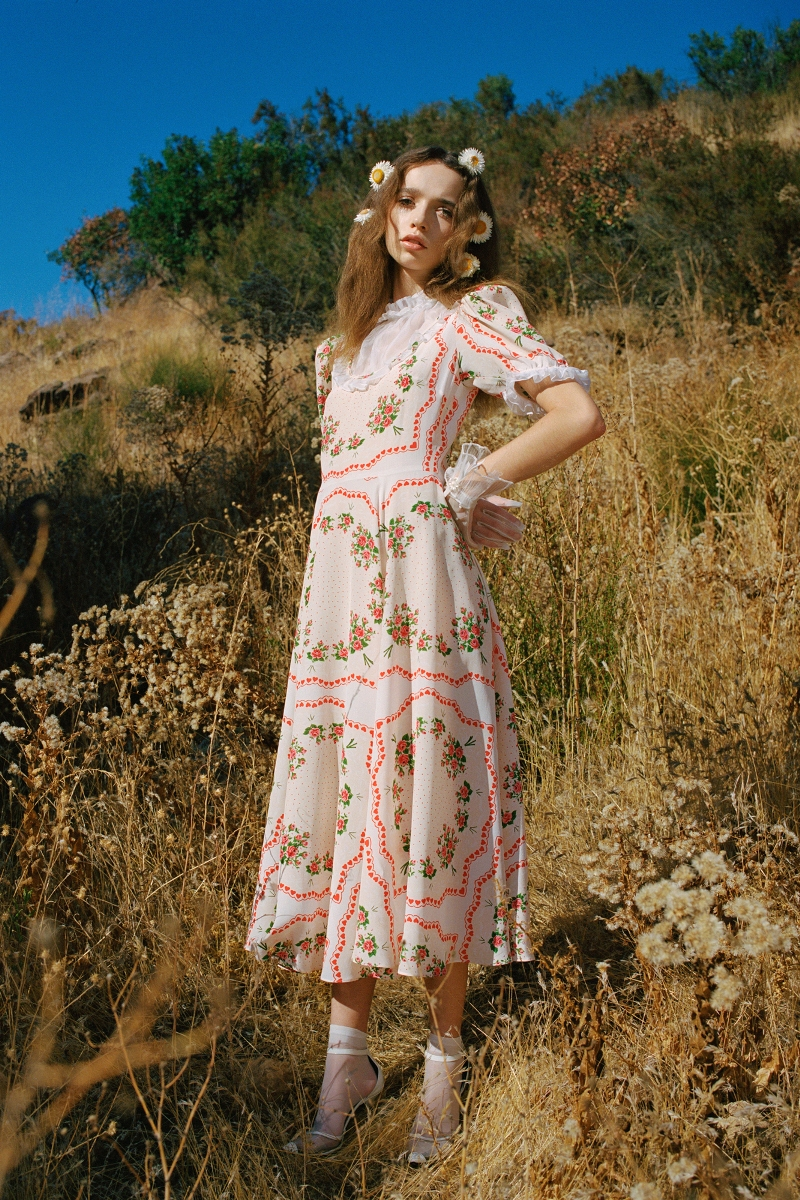 PINK AND BEIGE FLORAL BOUQUET PRINTED SILK DRESS WITH RUCHED COLLAR - LOOK 17