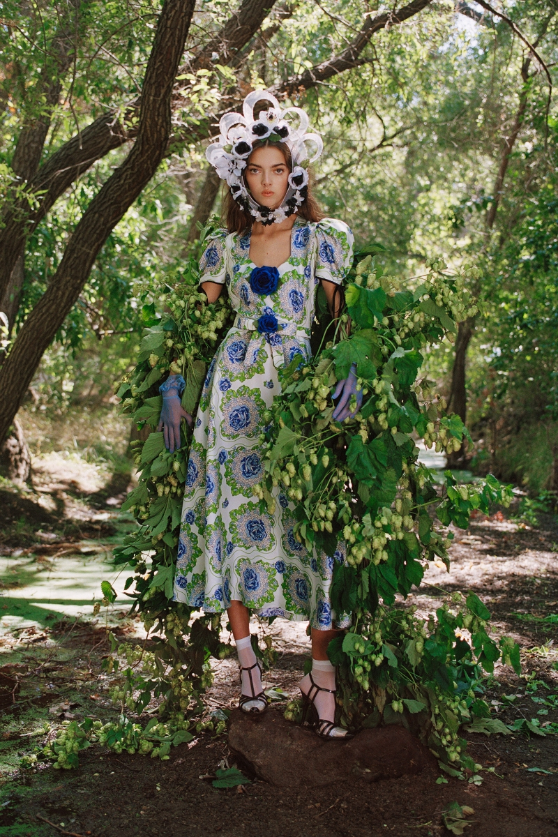 BLUE AND GREEN FLORAL PRINTED SILK TWILL DRESS WITH SILK ROSE (WITH BELT) - LOOK 23