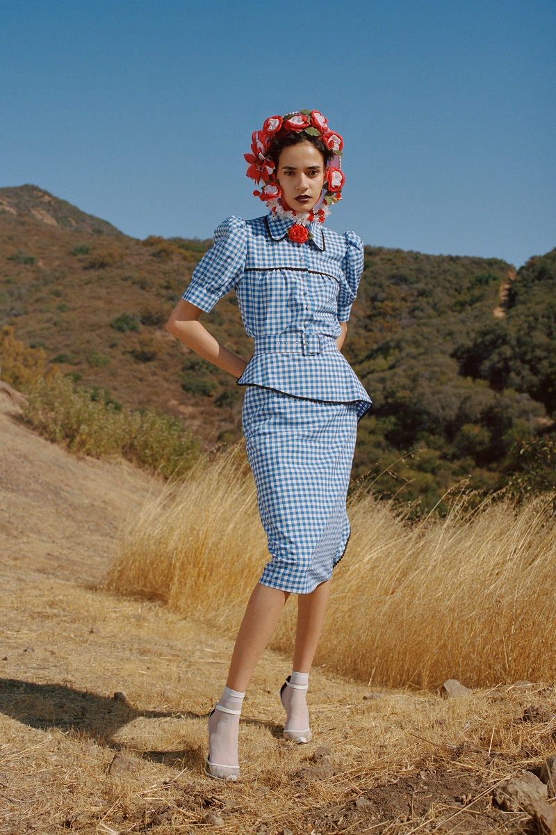 BLUE AND WHITE GINGHAM PUFF SLEEVE BLOUSE WITH LACE TRIM - LOOK 3