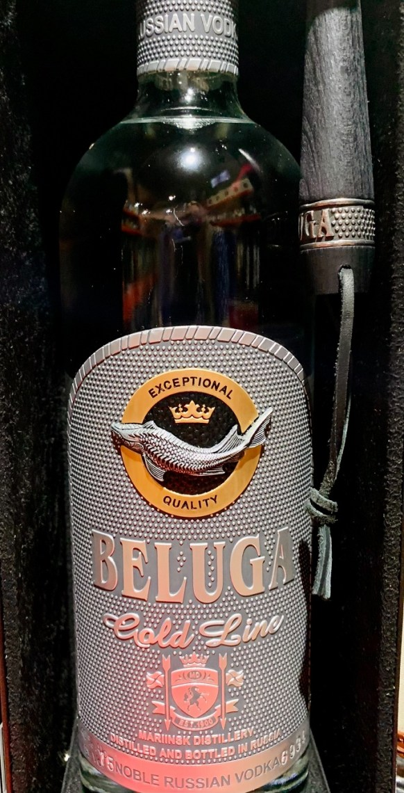 """Pictured: Beluga """"Cold Line,"""" equipped with special hammer & brush necessary to uncork it"""