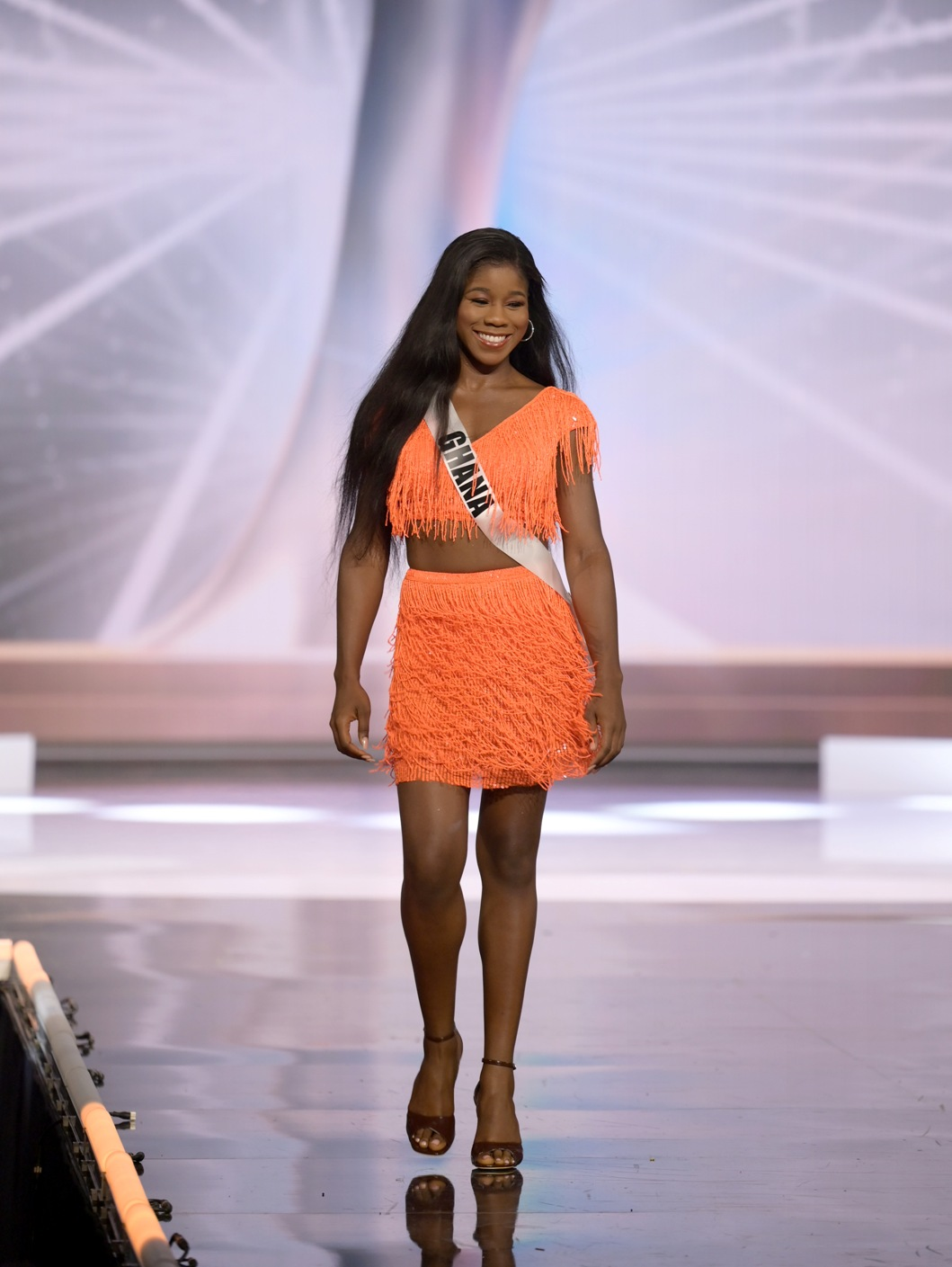 Chelsea Tayui, Miss Universe Ghana 2020 on stage in fashion by Sherri Hill during the opening of the MISS UNIVERSE® Preliminary Competition at the Seminole Hard Rock Hotel & Casino in Hollywood, Florida on May 14, 2021. Tune in to the live telecast on FYI and Telemundo on Sunday, May 16 at 8:00 PM ET to see who will become the next Miss Universe.