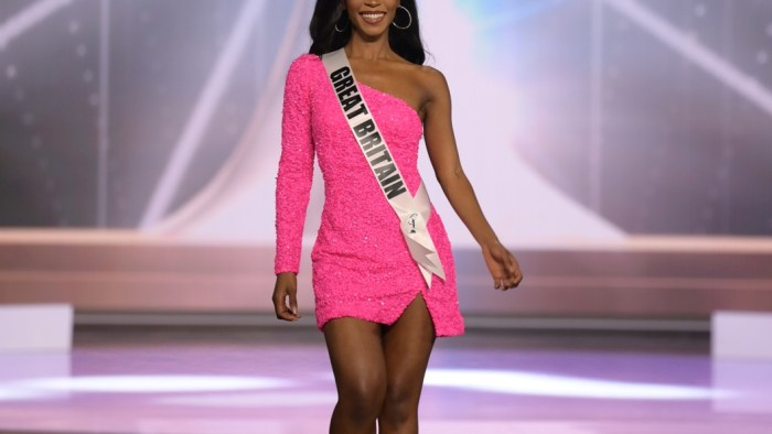 Jeanette Akua, Miss Universe Great Britain 2020 on stage in fashion by Sherri Hill during the opening of the MISS UNIVERSE® Preliminary Competition at the Seminole Hard Rock Hotel & Casino in Hollywood, Florida on May 14, 2021. Tune in to the live telecast on FYI and Telemundo on Sunday, May 16 at 8:00 PM ET to see who will become the next Miss Universe.