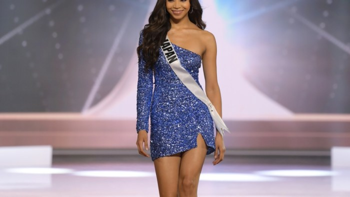 Aisha Harumi Tochigi, Miss Universe Japan 2020 on stage in fashion by Sherri Hill during the opening of the MISS UNIVERSE® Preliminary Competition at the Seminole Hard Rock Hotel & Casino in Hollywood, Florida on May 14, 2021. Tune in to the live telecast on FYI and Telemundo on Sunday, May 16 at 8:00 PM ET to see who will become the next Miss Universe.