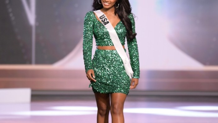 Asya Branch, Miss USA 2020 on stage in fashion by Sherri Hill during the opening of the MISS UNIVERSE® Preliminary Competition at the Seminole Hard Rock Hotel & Casino in Hollywood, Florida on May 14, 2021. Tune in to the live telecast on FYI and Telemundo on Sunday, May 16 at 8:00 PM ET to see who will become the next Miss Universe.