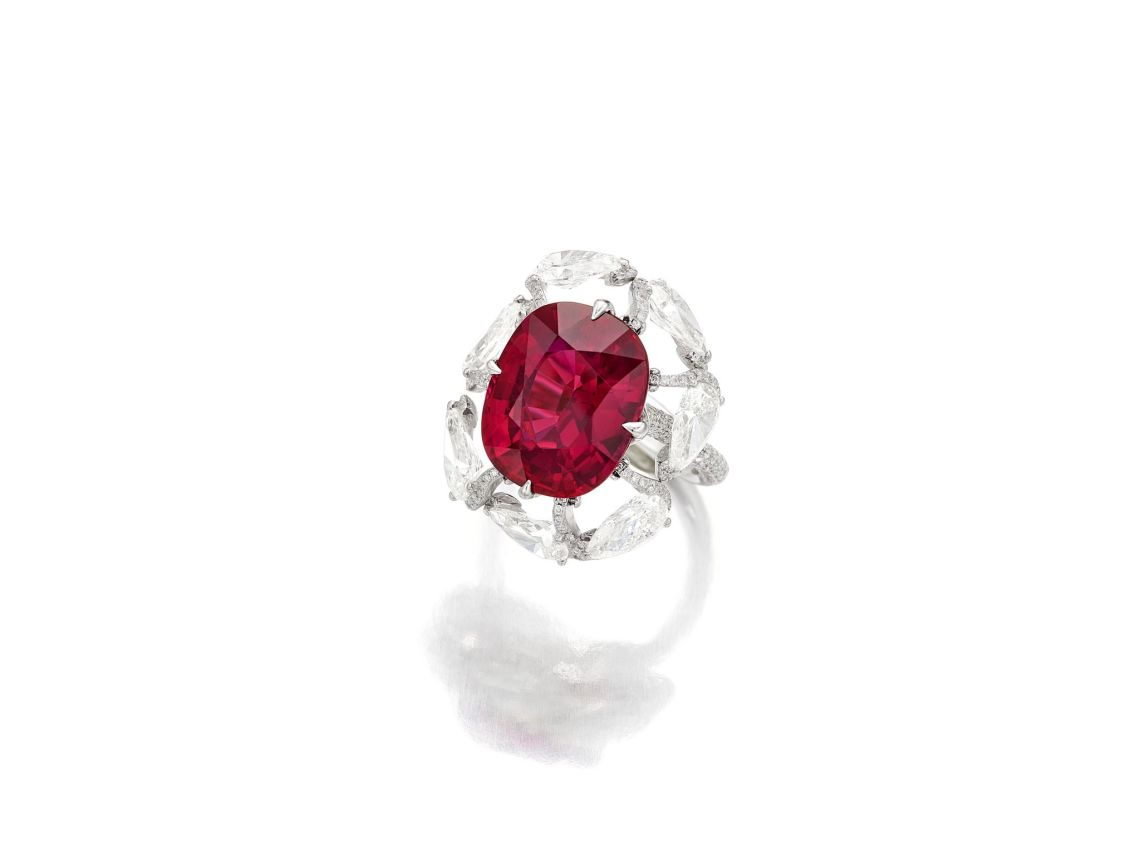 15.45 carat Madagascan Unheated Ruby and Diamond Ring