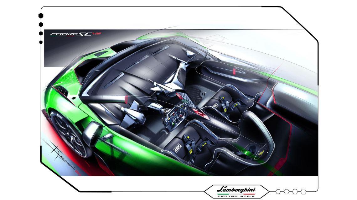 Lamborghini Essenza SCV12 - Centro Stile Interior Sketch