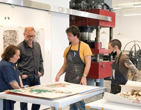 (Above) Mira Lehr with Theo Lotz, the Director of Flying Horse Editions, Steve Fournier (master printer), and Ella Elliston (printer).