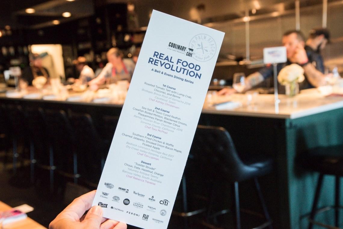 Menu at Real Food Revolution in 2019