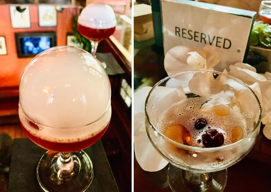 Old-Fashioned style rum cocktail with smoke bubble before and after