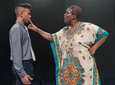 """Michael-Anthony Souza as Honest/Helen and Julienne """"Miss June"""" Brown as Hecuba."""