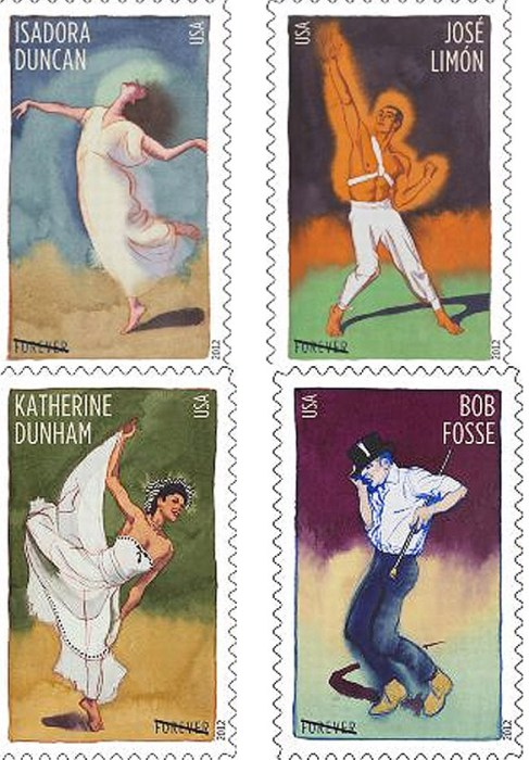 New postage stamps of innovative choreographers Isadora Duncan, Jose Limon, Katherine Dunham and Bob Fosse