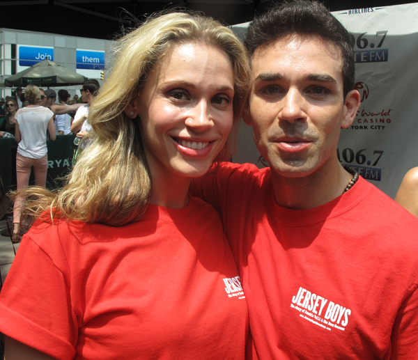Jersey Boys cast members at Broadway at Bryant Park
