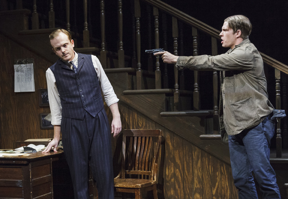"Jeremy Bobb, Alexander Cendese in scene from The One-Armed Man in ""Harrison, TX: Three Plays by Horton Foote"""