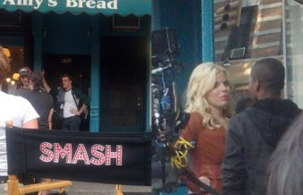 Smash filmed on location at 46th Street and Ninth Avenue, with Megan Hilty and Leslie Odom Jr.