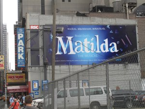 billboard for Matilda the musical, coming to Broadway in March, 2013