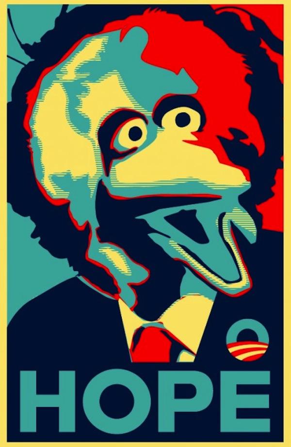 Big Bird on an Obama-ized poster