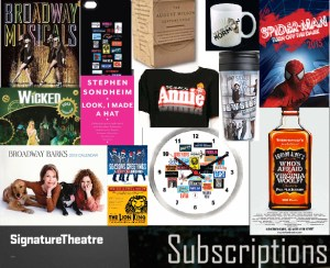 Broadway Holiday Gifts: Wicked Calendar, Annie t-shirt, Who's Afraid of Virginia Woolf poster, Broadway Cares clock, Book of Mormon mug, books by Stephen Sondheim and Ben Brantley, Newsies cup, etc.