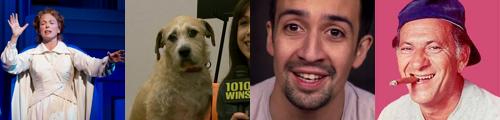carolee Carmello in Scandalous; Sandy the dog in Andy; Lin-Manuel Miranda; Jack Klugman
