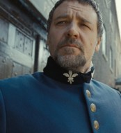 Russell Crowe as Javert in one of the many, many vertiginous close-ups in Les Miserables