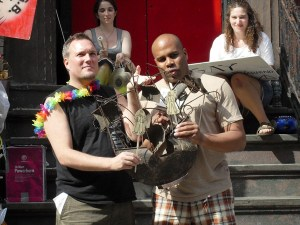 Christopher Borg and Kevin R. Free perform one of 54 Twitter plays staged live by the New York Neo-Futurists