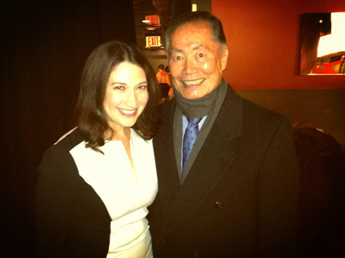 """Randi Zuckerberg and George Takei at TEDx Broadway 2013. Zuckerberg Tweeted about Takei: """"He was so great talking about theater & social media, I don't even have to speak! """""""