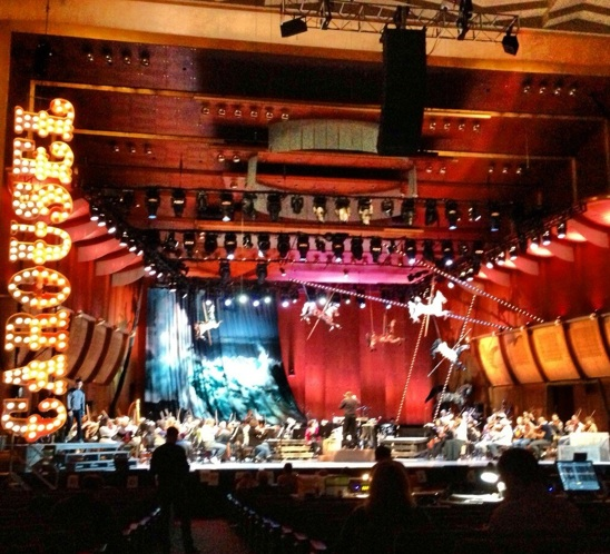 The set of the New York Philharmonic production of Rodgers and Hammerstein's Carousel at Avery Fisher Hall.