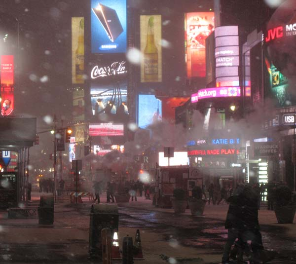 "The ""blizzard"" in Times Square, February 8, 2013, at 9:30 p.m."